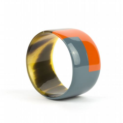 Bracelet Horn Orange / Blue Grey - Large